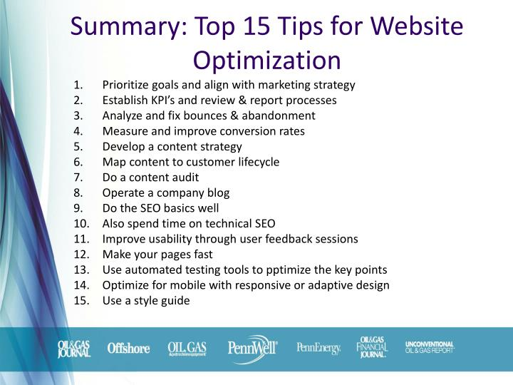 Summary: Top 15 Tips for Website Optimization