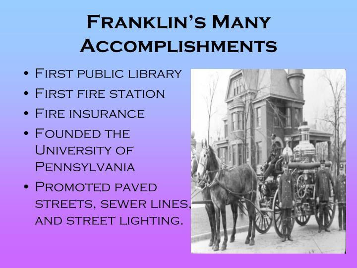 Franklin's Many Accomplishments