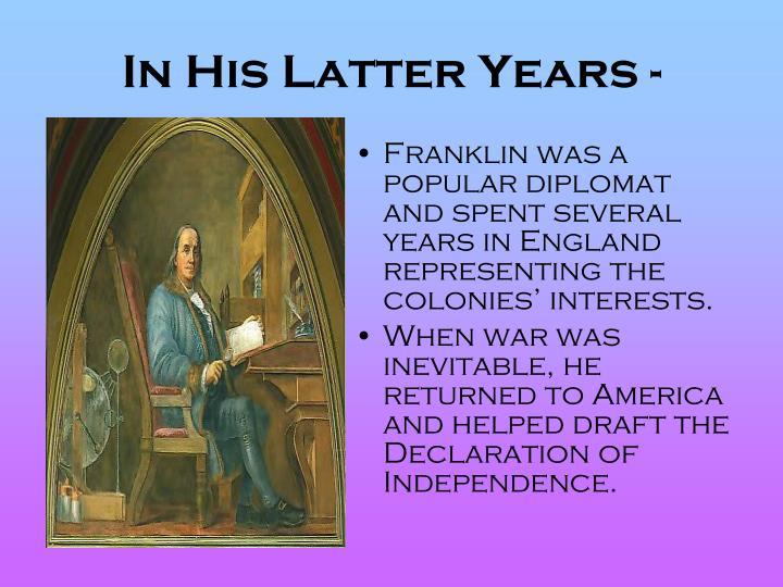 In His Latter Years -