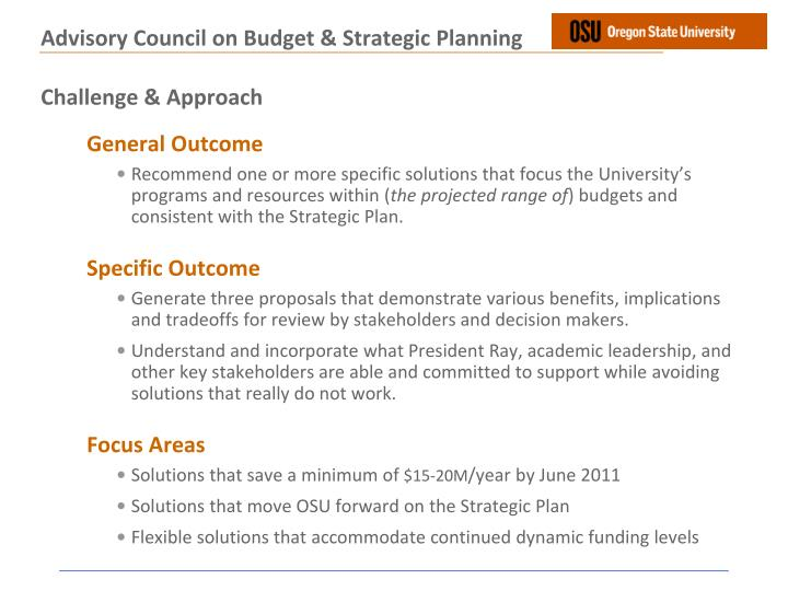 Advisory council on budget strategic planning