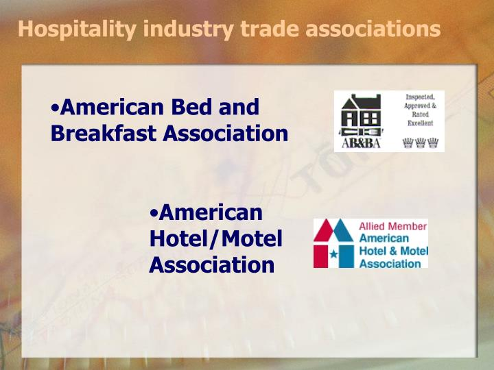 Hospitality industry trade associations
