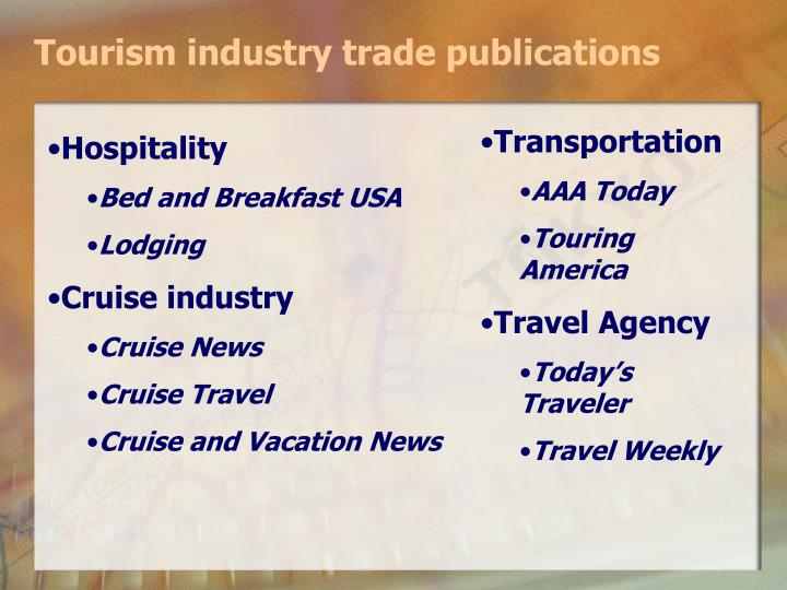 Tourism industry trade publications