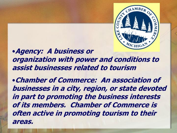 Agency:  A business or                    organization with power and conditions to assist businesses related to tourism