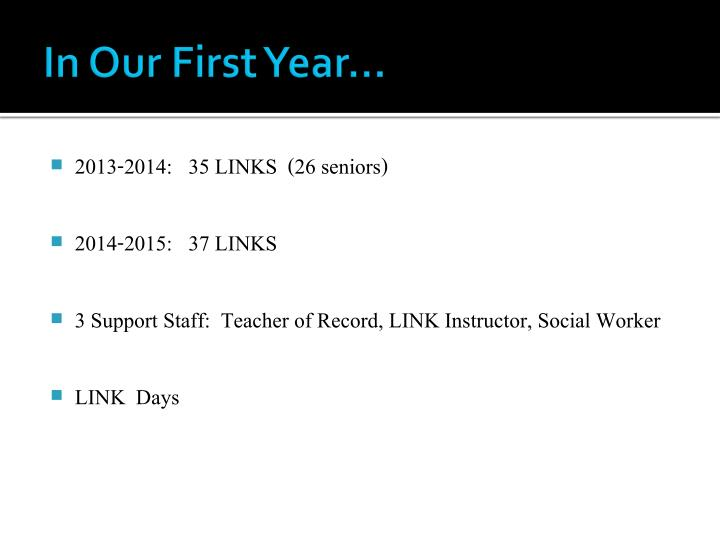 In Our First Year…