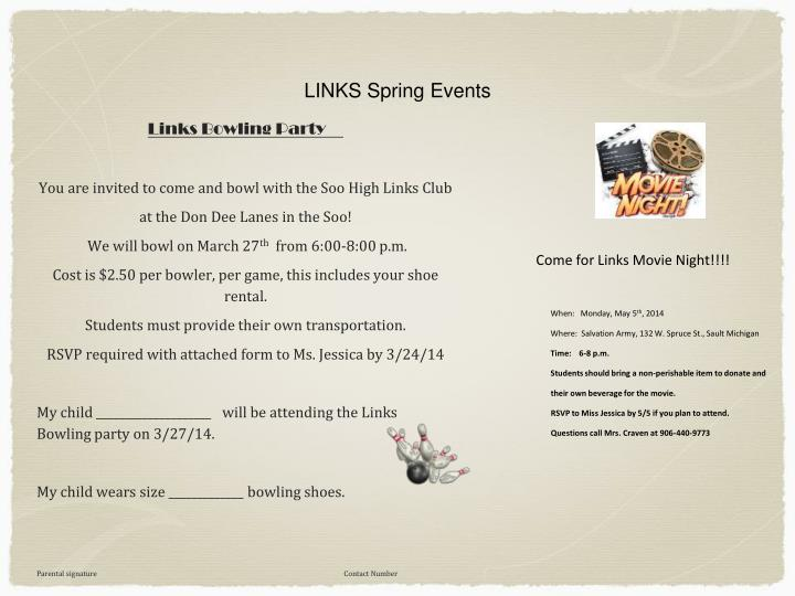 LINKS Spring Events