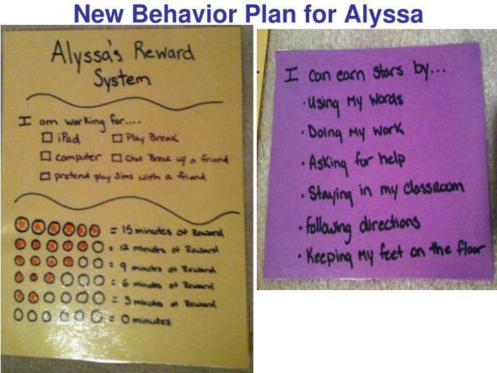 New Behavior Plan for Alyssa