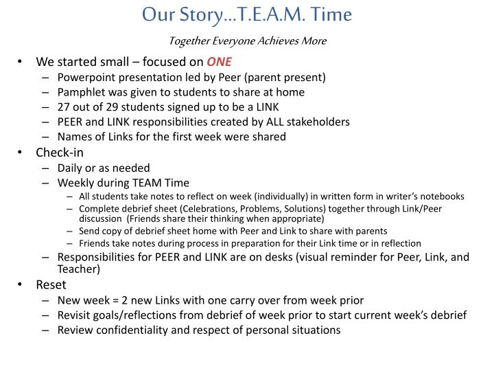 Our Story…T.E.A.M. Time