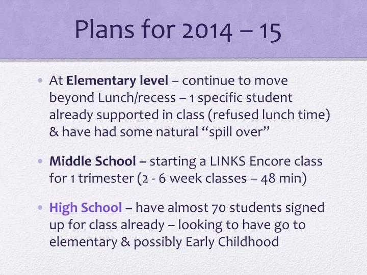 Plans for 2014 – 15
