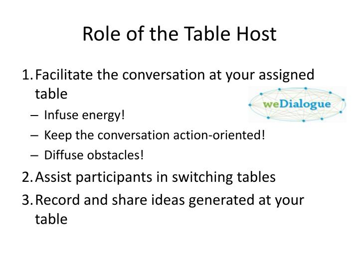Role of the Table Host