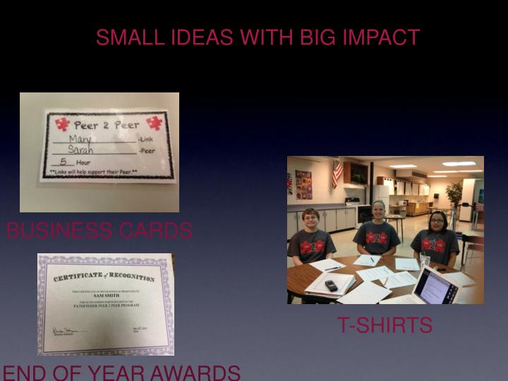 SMALL IDEAS WITH BIG IMPACT