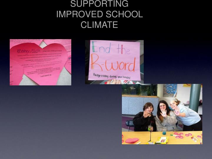 SUPPORTING IMPROVED SCHOOL CLIMATE