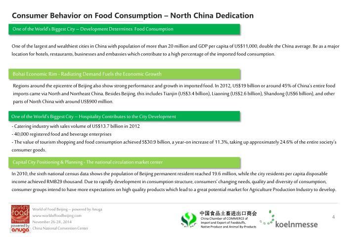 Consumer Behavior on Food Consumption – North China Dedication