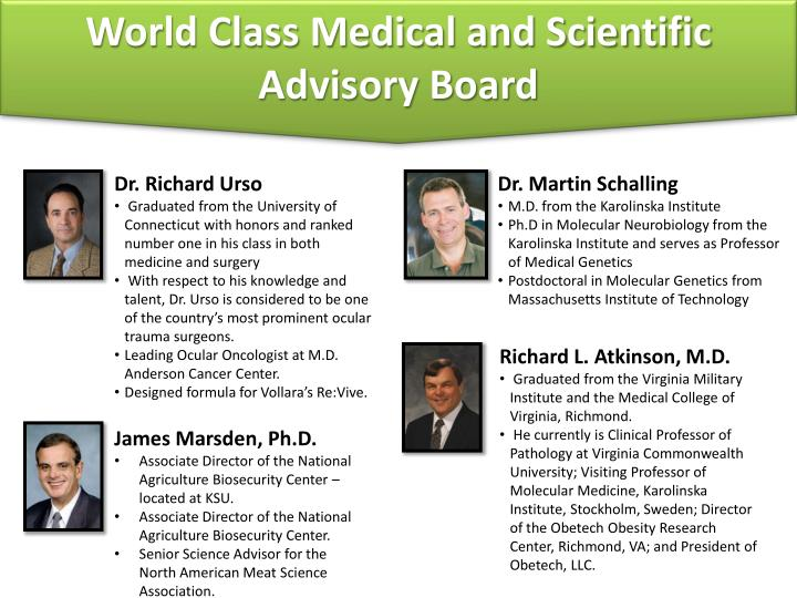 World Class Medical and Scientific Advisory Board