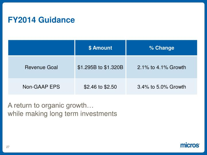 FY2014 Guidance