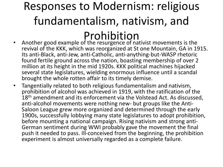 Responses to Modernism: religious fundamentalism,