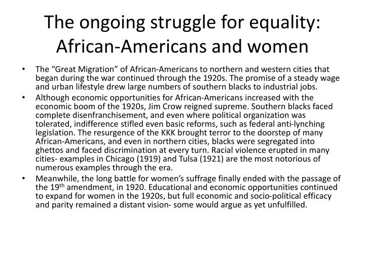 The ongoing struggle for equality: African-Americans and women