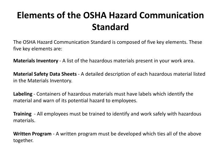 Elements of the osha hazard communication standard