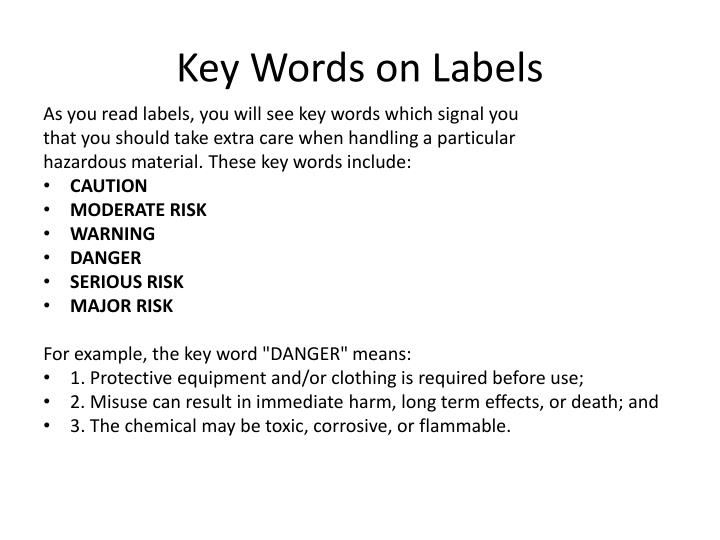 Key Words on Labels