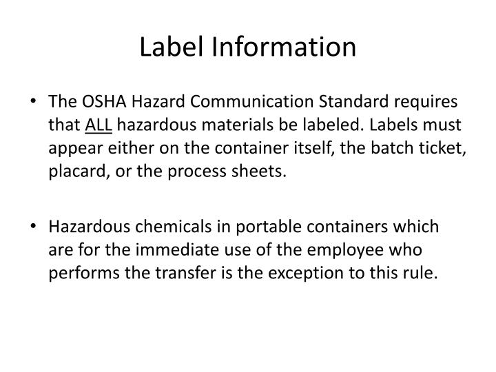 Label Information