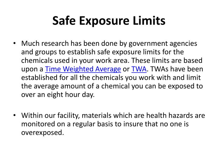 Safe Exposure Limits
