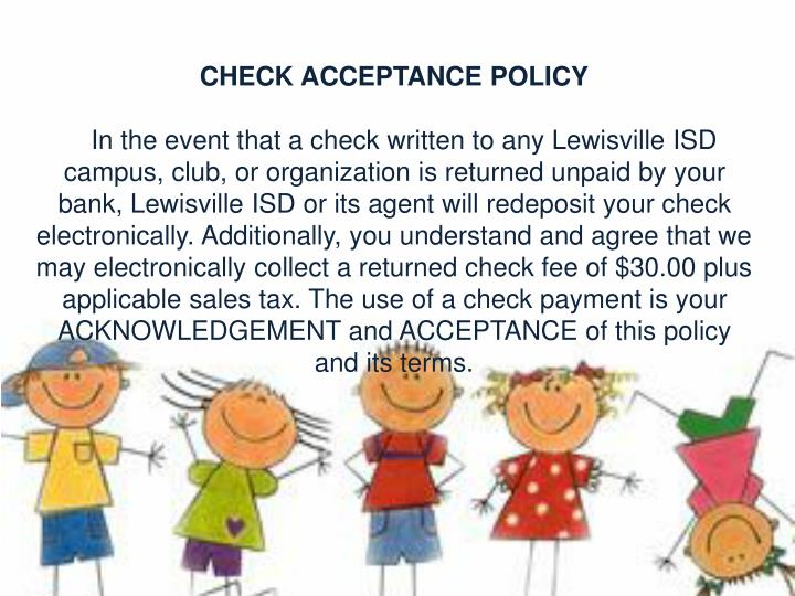 CHECK ACCEPTANCE POLICY