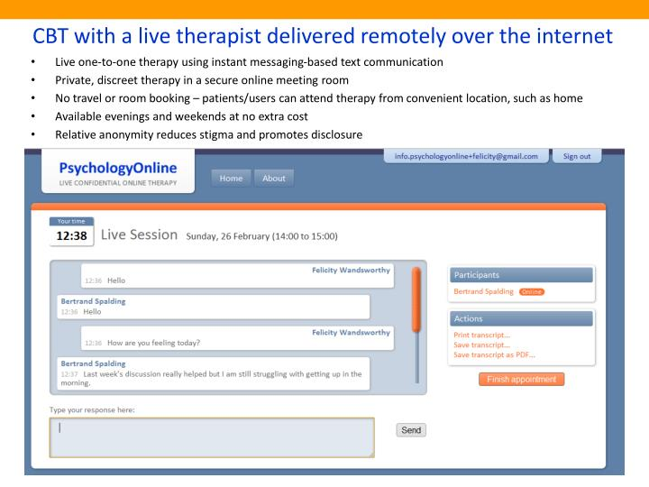 Cbt with a live therapist delivered remotely over the internet