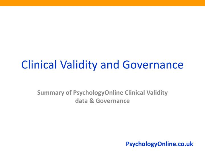 Clinical Validity and Governance
