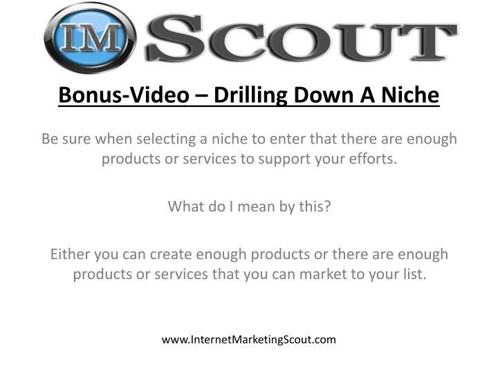 Bonus-Video – Drilling Down A Niche