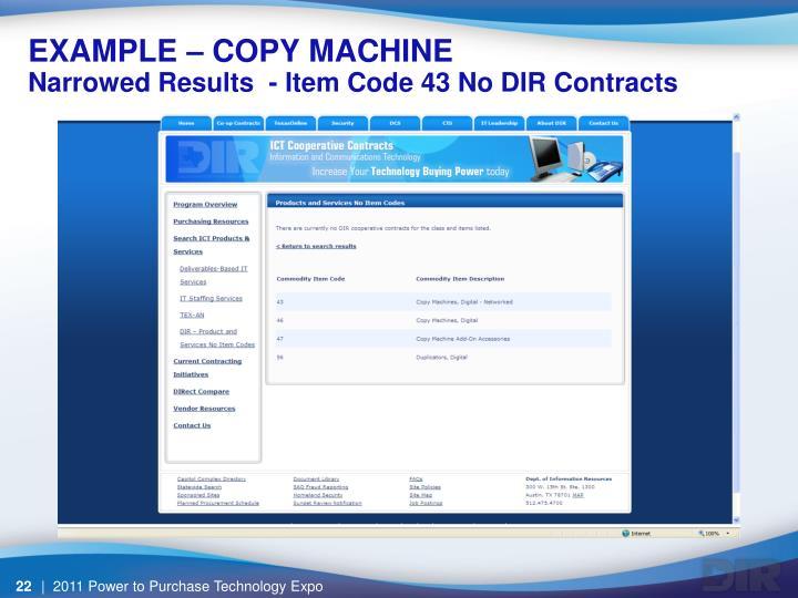 EXAMPLE – COPY MACHINE