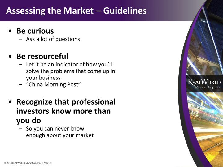 Assessing the Market – Guidelines