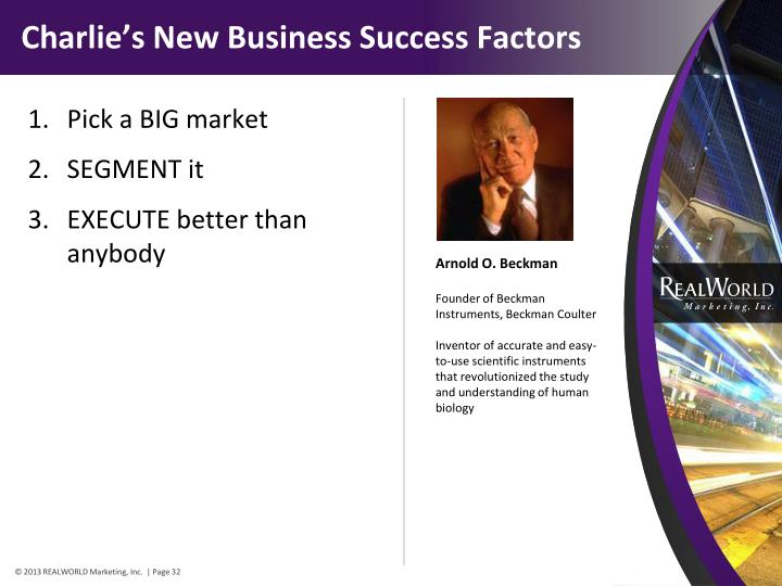Charlie's New Business Success Factors