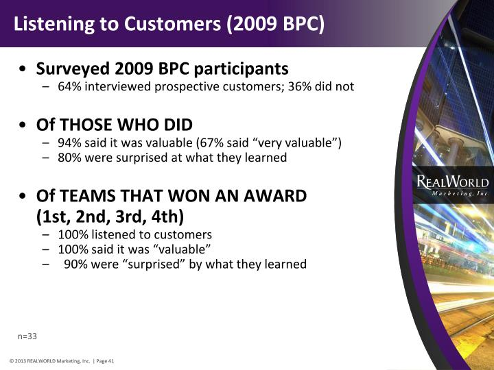 Listening to Customers (2009 BPC)