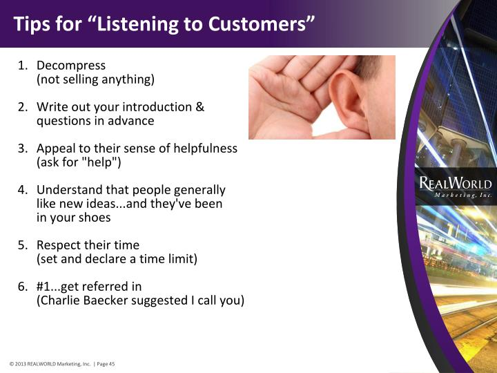 "Tips for ""Listening to Customers"""