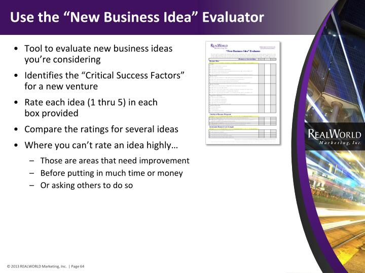 "Use the ""New Business Idea"" Evaluator"