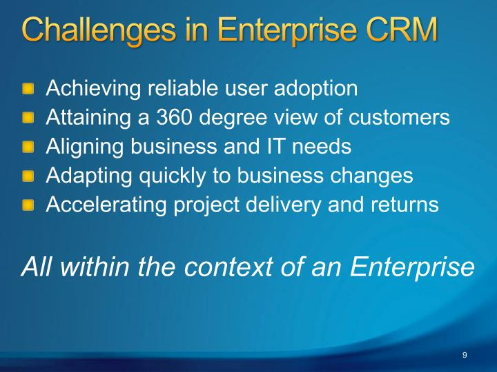 Challenges in Enterprise CRM