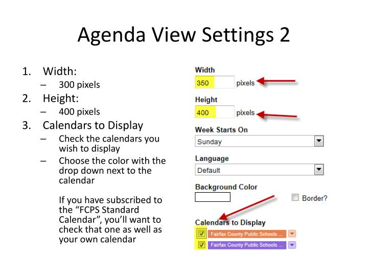 Agenda View Settings 2