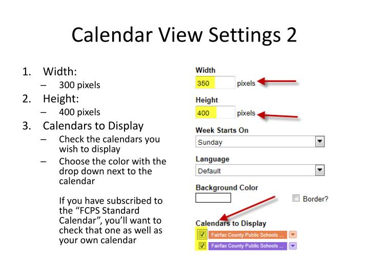 Calendar View Settings 2