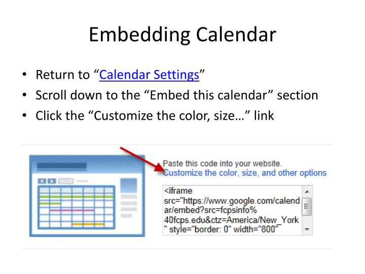 Embedding Calendar