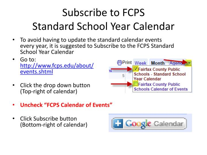 Subscribe to fcps standard school year calendar