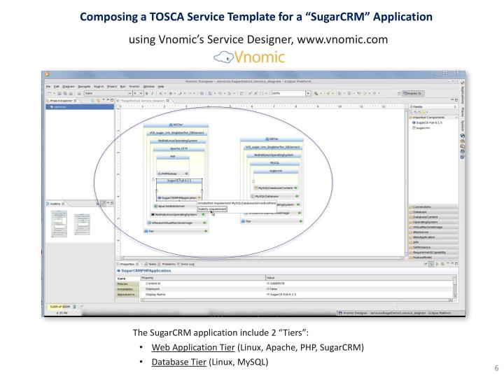 "Composing a TOSCA Service Template for a ""SugarCRM"" Application"