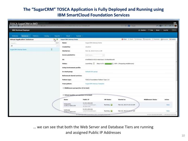 "The ""SugarCRM"" TOSCA Application is Fully Deployed and Running using IBM SmartCloud Foundation Services"