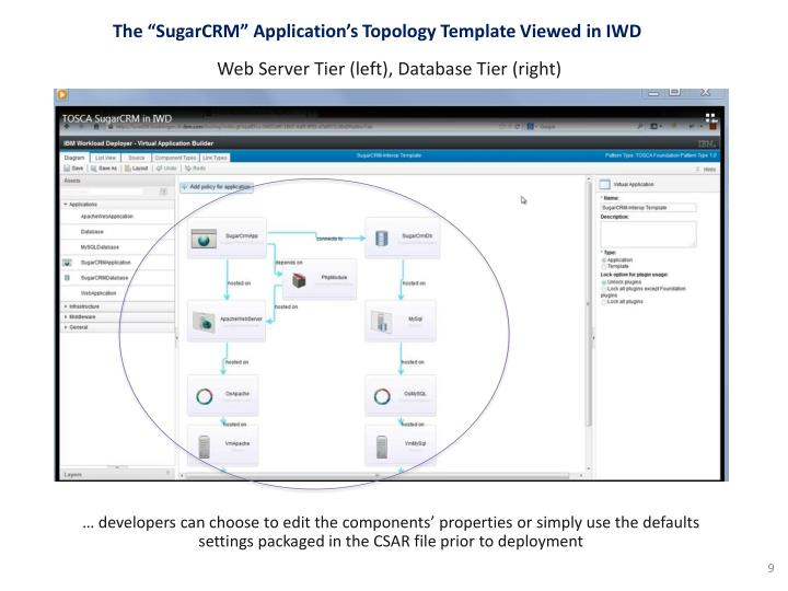 "The ""SugarCRM"" Application's Topology Template Viewed"
