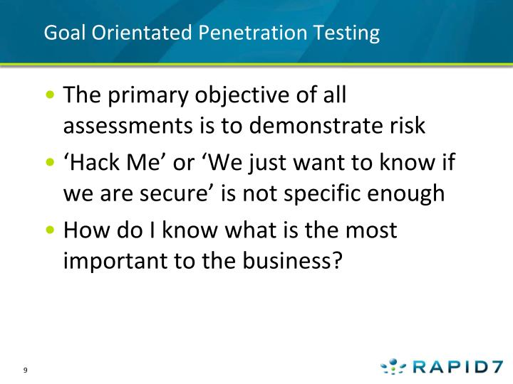 Goal Orientated Penetration Testing
