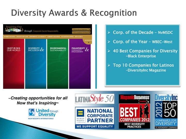 Diversity Awards & Recognition