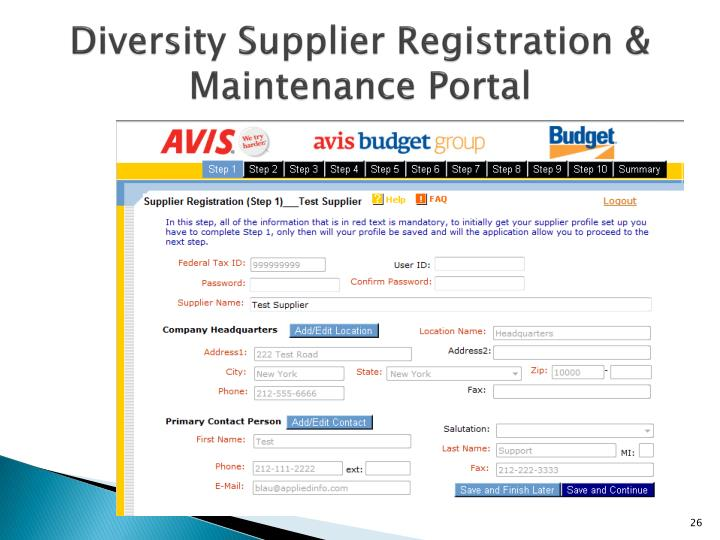 Diversity Supplier Registration & Maintenance Portal