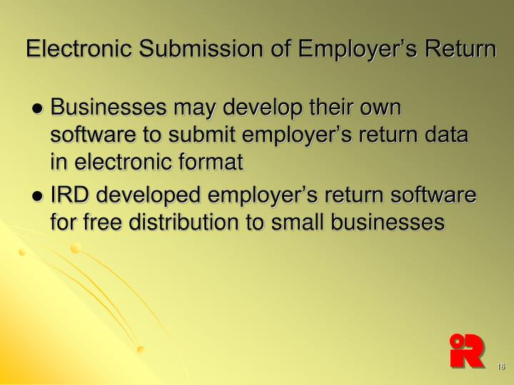 Electronic Submission of Employer's Return