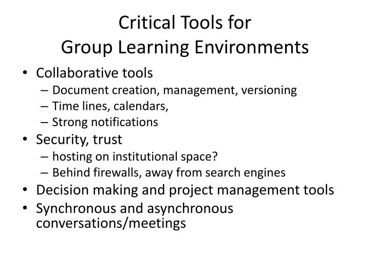Critical Tools for