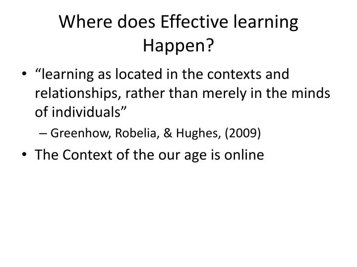 Where does Effective learning Happen?