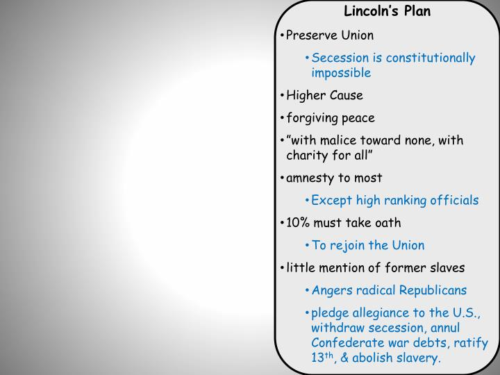 Lincoln's Plan
