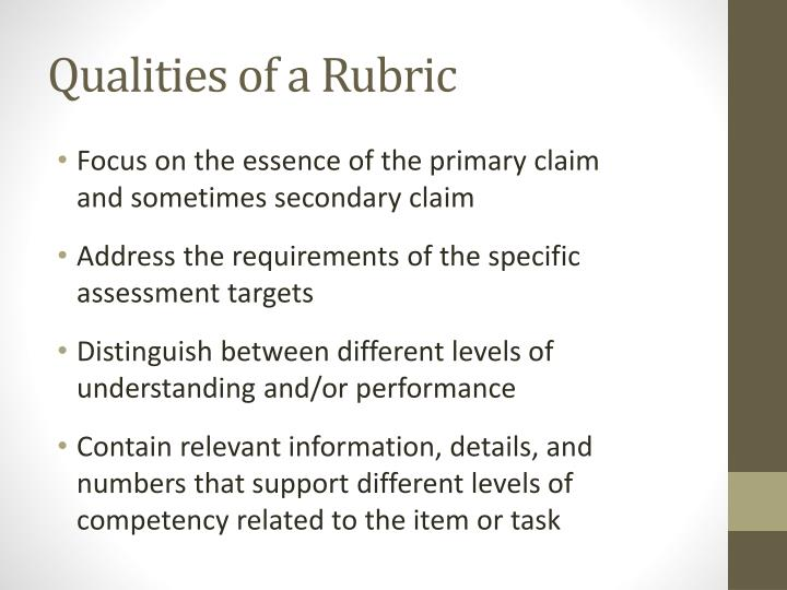 Qualities of a Rubric
